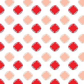 Organic hand drawn geometric squares red and white