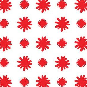 Organic hand drawn geometric squares and snowflake blob asterisk star red and white 09