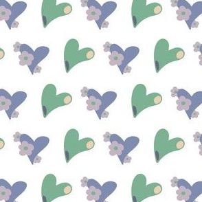 Hearts and Flowers 05 Green White purple Pink Yellow