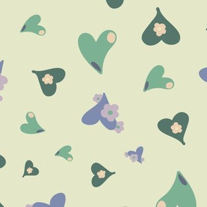 Hearts and Flowers 02 Green Purple Yellow Pink Lilac