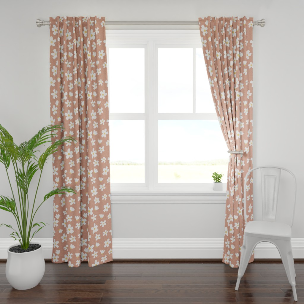 Plymouth Curtain Panel featuring medium // Daisy garden Muted Clay by erin__kendal