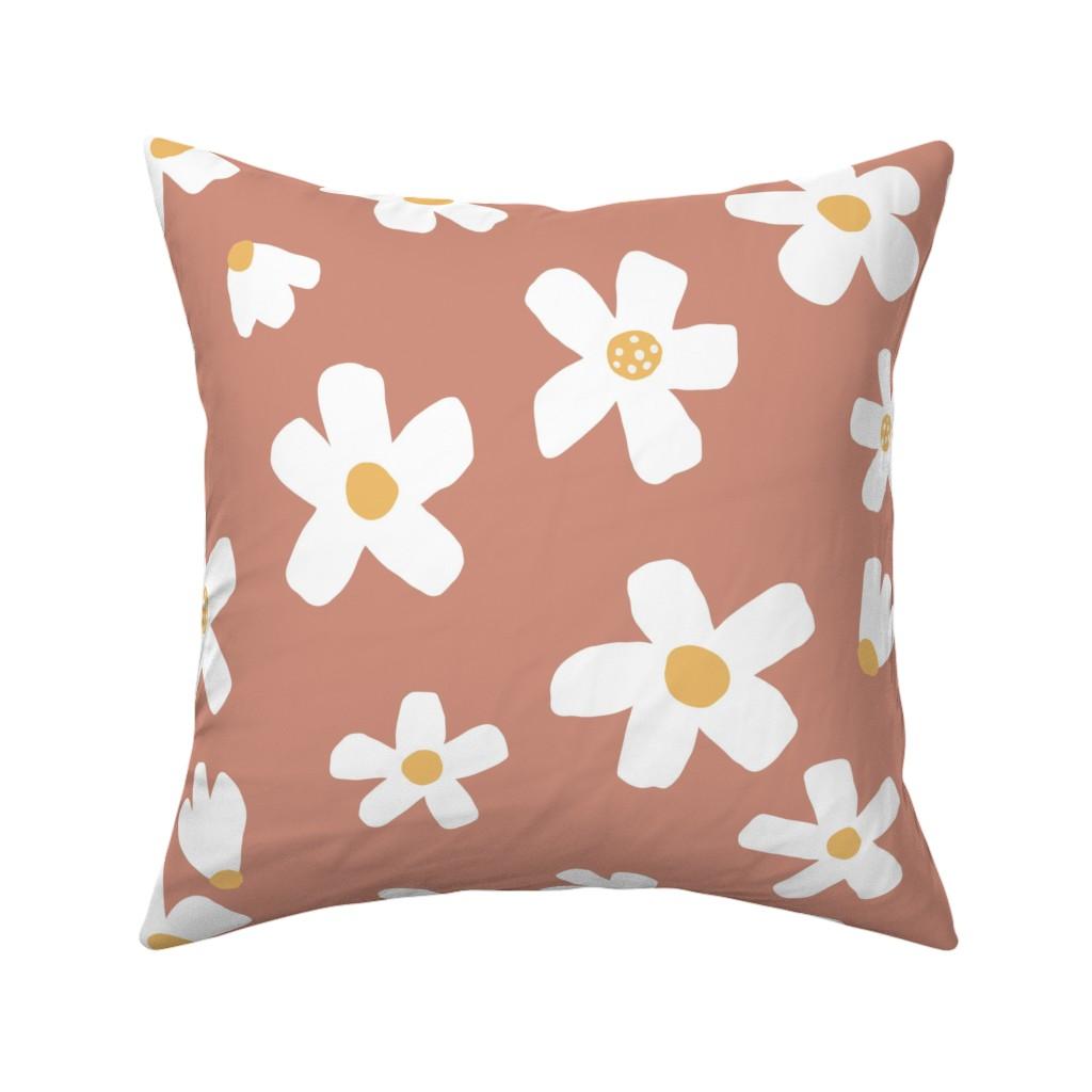 Catalan Throw Pillow featuring medium // Daisy garden Muted Clay by erin__kendal