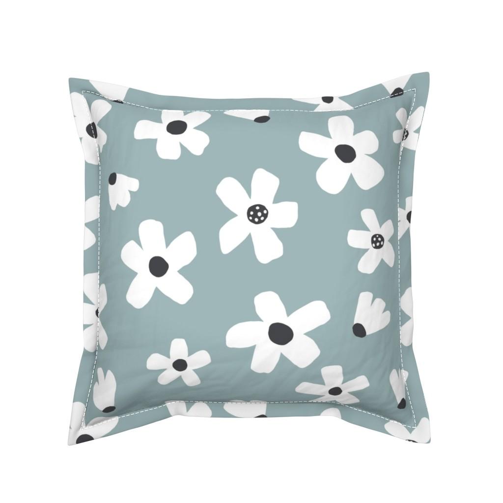 Serama Throw Pillow featuring medium //  garden Citadel Blue by erin__kendal