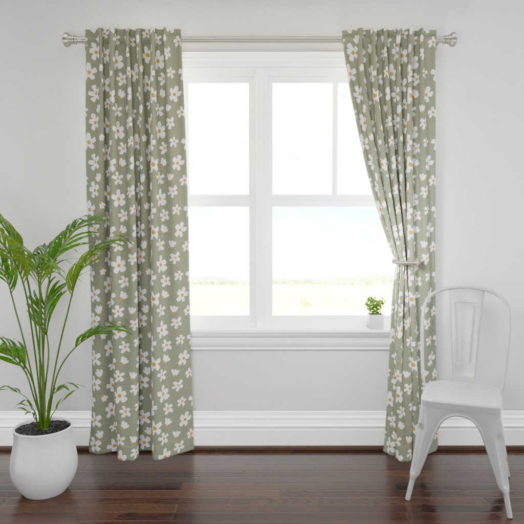 Plymouth Curtain Panel featuring medium // Daisy garden Tea Green by erin__kendal