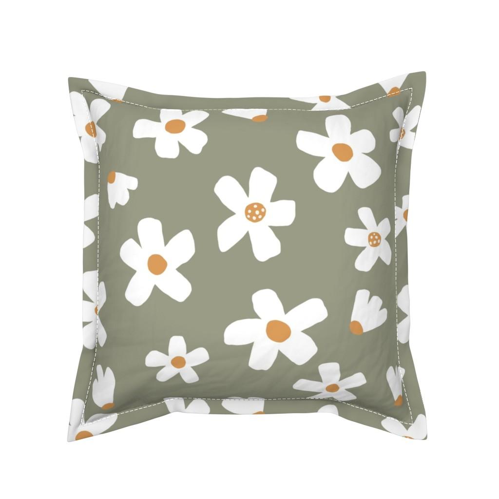 Serama Throw Pillow featuring medium // Daisy garden Tea Green by erin__kendal
