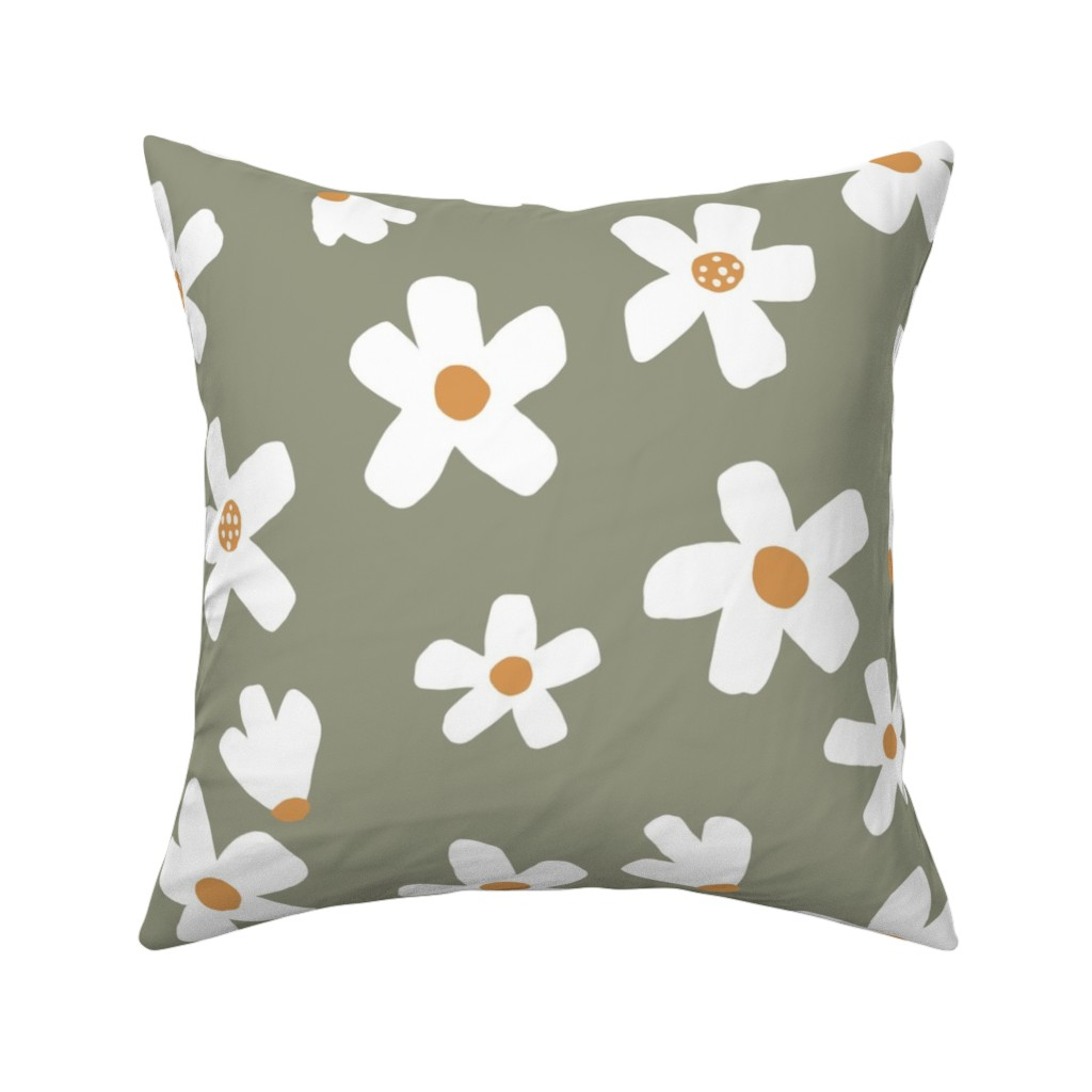 Catalan Throw Pillow featuring medium // Daisy garden Tea Green by erin__kendal