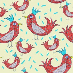 Roosters on Yellow