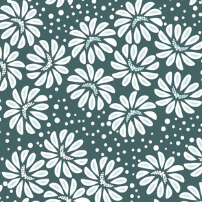 Scattered flowers Mint and Polka dotted White outline