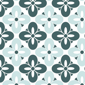 Wonderful Faux Tile Mint Green Geometric Floral
