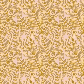 Tropical Palm Fronds in Gold on Blush Pink - Small