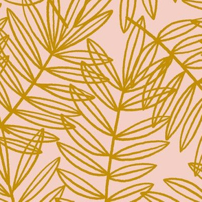 Tropical Palm Fronds in Gold on Blush Pink