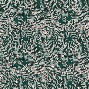 Tropical Palm Fronds in Blush Pink and Forest Green - Small