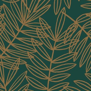 Tropical Palm Fronds in Ochre Brown and Forest Green