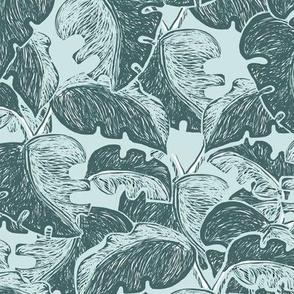 Pine and Mint Elephant Ear Leaves