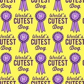World's cutest dog - ribbon - purple on yellow - LAD20