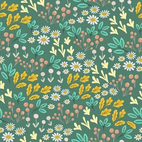 Small Scale Modern Woodland Floral Summer