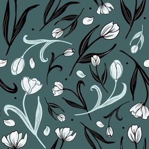 White Tulips on Pine