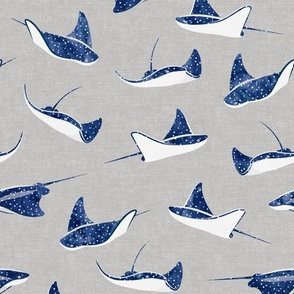 Stingrays - watercolor blue on grey - spotted ray  - LAD20
