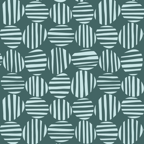 Funky Striped Circles in Mint and Pine