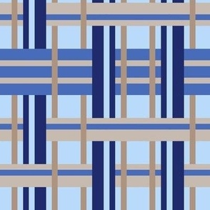 Beige and Blue Digitally Woven Plaid