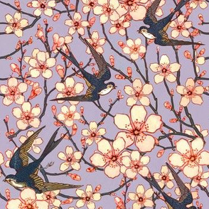 Almond blossoms and swallows floral small scale