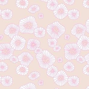 Summer boho blossom retro flowers Scandinavian vintage style florals illustration pink beige