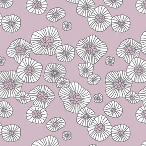 Summer boho blossom retro flowers Scandinavian vintage style florals illustration lilac purple gray