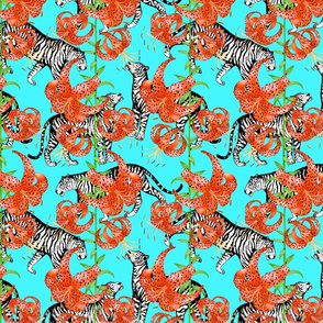 Tigers and Tiger Lilies (Blue Background)