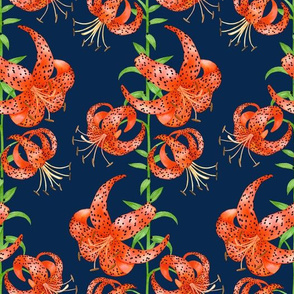 Tiger Lilies (Navy Background)