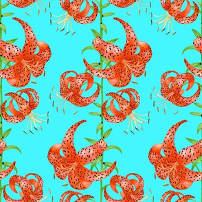 Tiger Lilies (Blue Background)