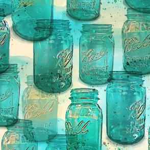 teal ball mason jars