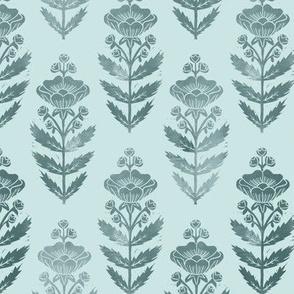 Block Print Buttercups- Folk art, Pine on Mint