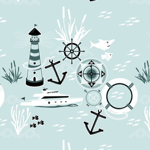 NAUTICAL pattern in MINT AND GREEN by CLARKY WORKS-01