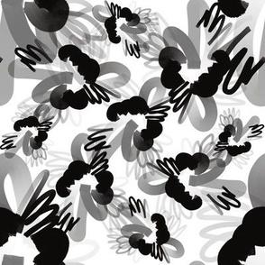 Black and White FreeformFlowers