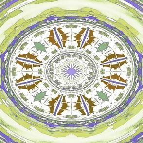Ikat Style Motif, Cactus Flower Green Blue Brown
