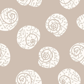 Snail Shells with Florals on Soft Beige seamless pattern background.