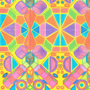 Multicolor mosaic and 3D shapes for kids