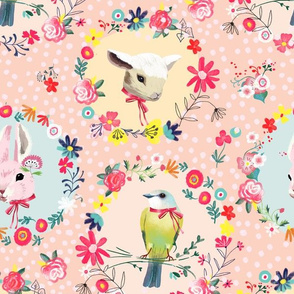 spring floral circles bunny lamb bird small