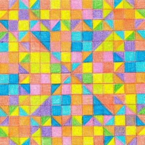 Mosaic pixel multicolored pattern