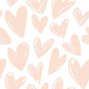 Simple Light Pink Hearts on White