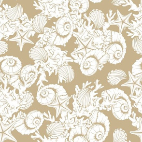 Contour Line Art Seashells Underwater Life. Hand Drawn Vector seamless pattern