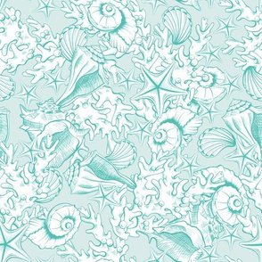 Turquoise Contour Line Art Seashells Underwater Life