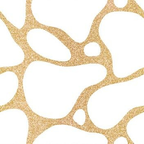 White Abstract Spots on Gold Textured Realistic Background