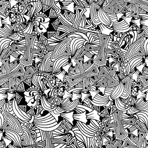 Line Art Black And White Mushrooms