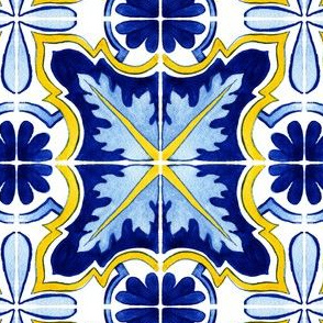 Dark Blue Azulejo Portuguese tile, watercolor design