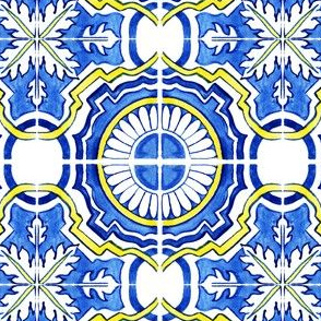 Azulejo Portuguese tile, watercolor light blue design