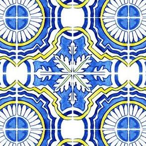 Azulejos Tlie Floral Circles Cobalt