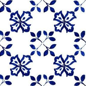 Azulejos Tlie Flowers and Leaves