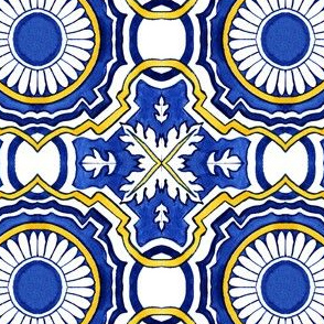 Azulejo Portuguese tile, watercolor blue design