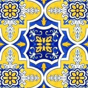 Azulejo Portuguese tile, watercolor yellow blue design